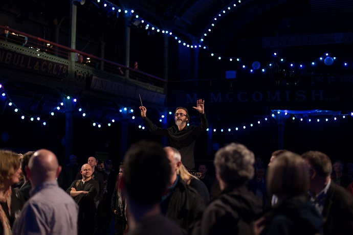 Ilan Volkov conducting the BBC SSO in the premiere of Fruitmarket. Photo: BBC, Alex woodward