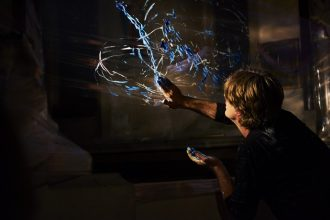 Artist Mark Rowan-Hull in a 'light painting performance'